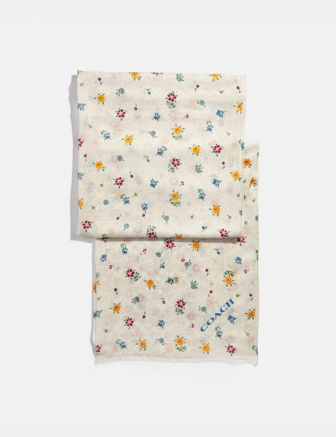 Coach Signature Wildflower Print Oblong Scarf Chalk Women Accessories Scarves