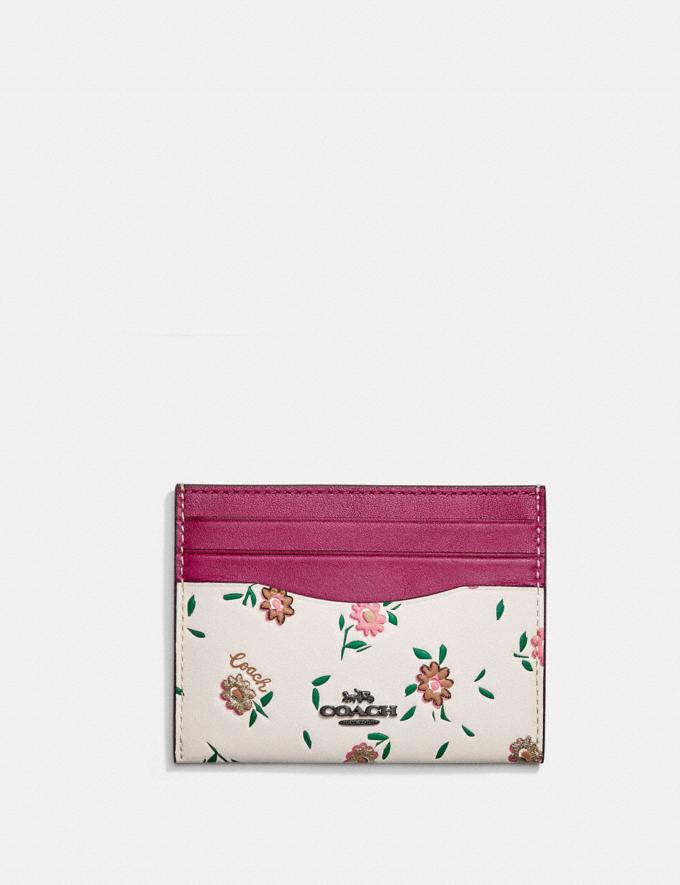 Coach Card Case With Blocked Floral Print V5/Cerise Multi SALE For Her Wallets & Wristlets