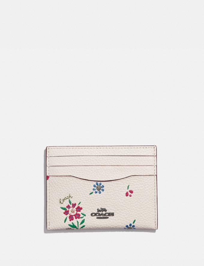 Coach Card Case With Wildflower Print Pewter/Chalk Gifts For Her Under $100