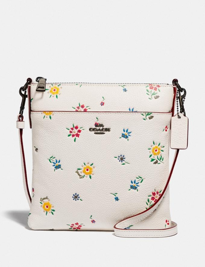 Coach Kitt Messenger Crossbody With Wildflower Print Pewter/Chalk Women Handbags Crossbody Bags
