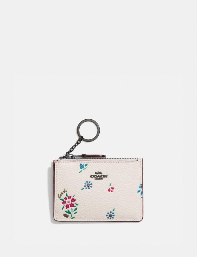 Coach Mini Skinny Id Case With Wildflower Print Pewter/Chalk Women Wallets & Wristlets Card Cases