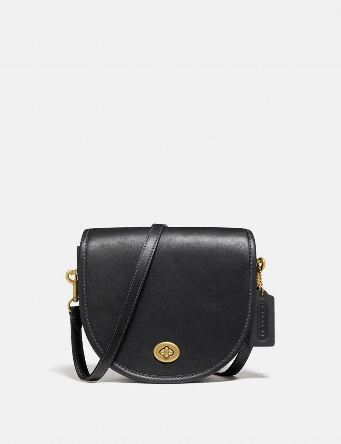 Coach Turnlock Saddle Crossbody B4/Black Women Bags Crossbody Bags