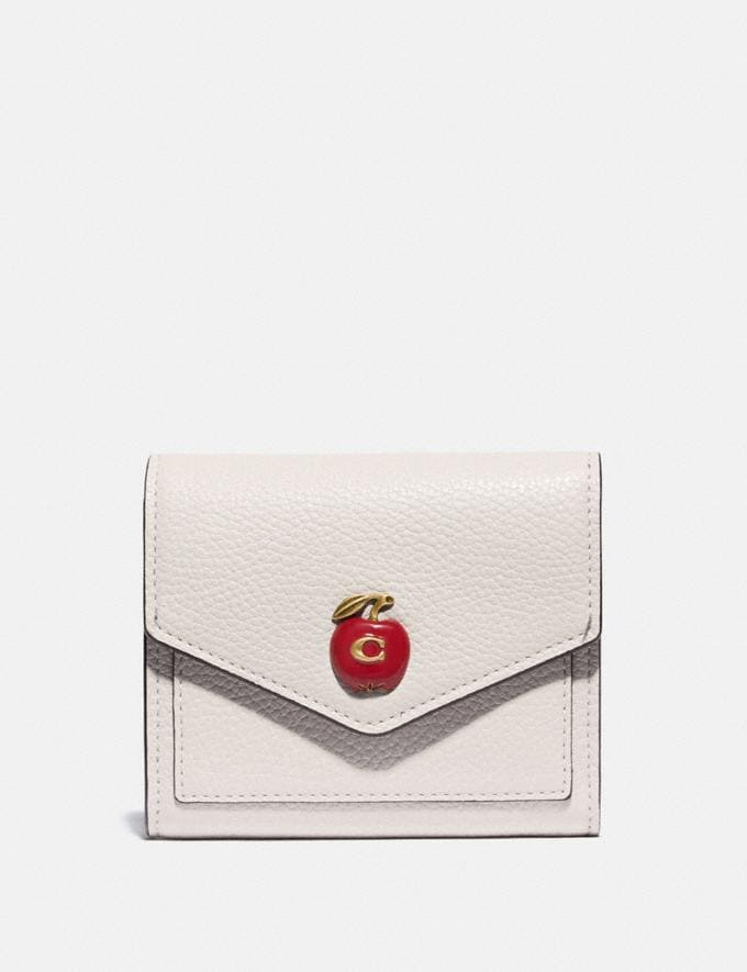 Coach Small Wallet With Apple Print Brass/Chalk Women Wallets & Wristlets Small Wallets