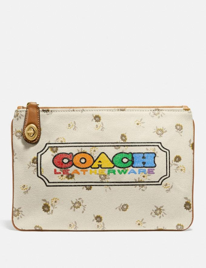 Coach Turnlock Pouch 26 With Rainbow Coach Badge Brass/Multi New Featured Coach Pride Collection