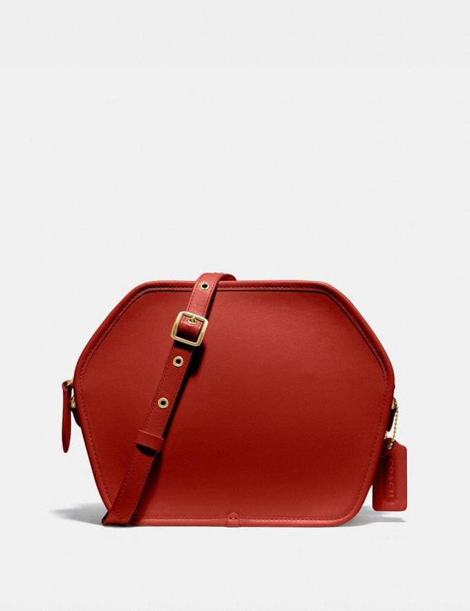 Coach Zip Geometric Pouch B4/Carmine Women Bags Crossbody Bags