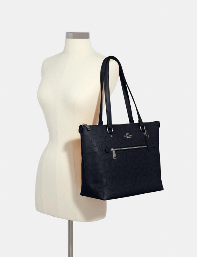 Coach Gallery Tote in Signature Leather Sv/Midnight What's New Alternate View 3