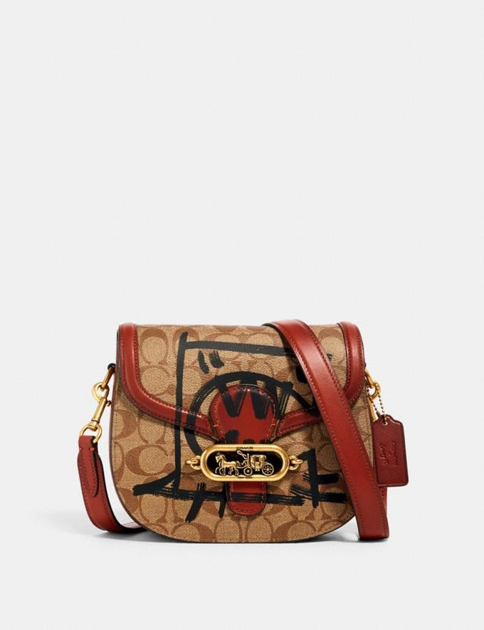 Coach Jade Saddle Bag in Signature Canvas With Rexy by Guang Yu Ol/Khaki Multi Bags Bags Crossbody Bags