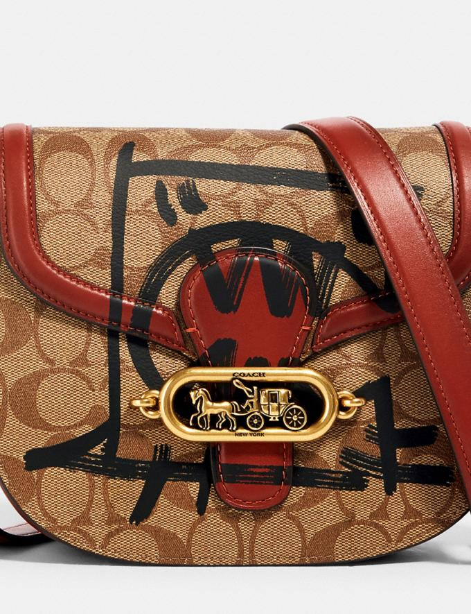 Coach Jade Saddle Bag in Signature Canvas With Rexy by Guang Yu Ol/Khaki Multi Bags Bags Crossbody Bags Alternate View 3