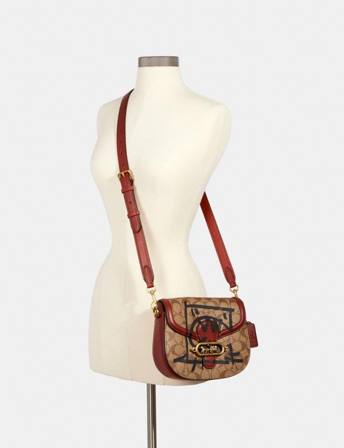 Coach Jade Saddle Bag in Signature Canvas With Rexy by Guang Yu Ol/Khaki Multi Bags Bags Crossbody Bags Alternate View 2
