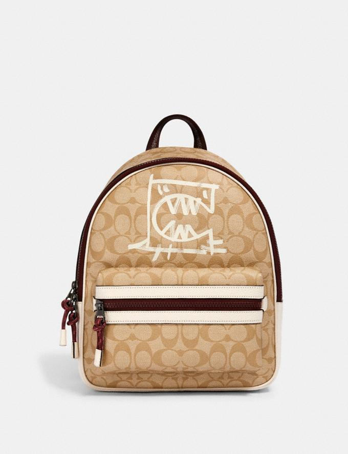Coach Vale Medium Charlie Backpack in Signature Canvas With Rexy by Guang Yu Qb/Light Khaki/Chalk Multi Bags Bags Backpacks