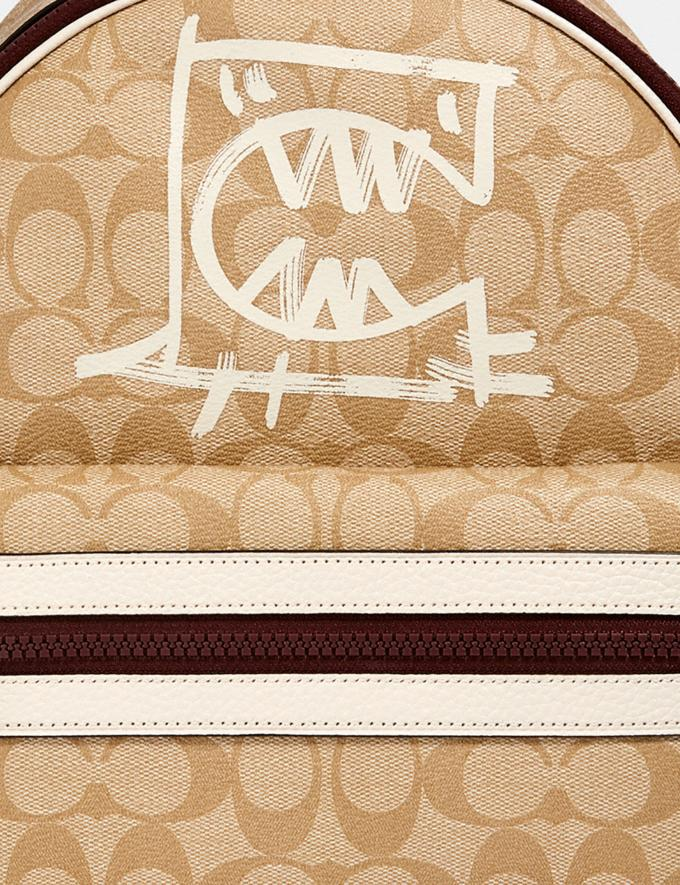 Coach Vale Medium Charlie Backpack in Signature Canvas With Rexy by Guang Yu Qb/Light Khaki/Chalk Multi Women Bags Alternate View 3