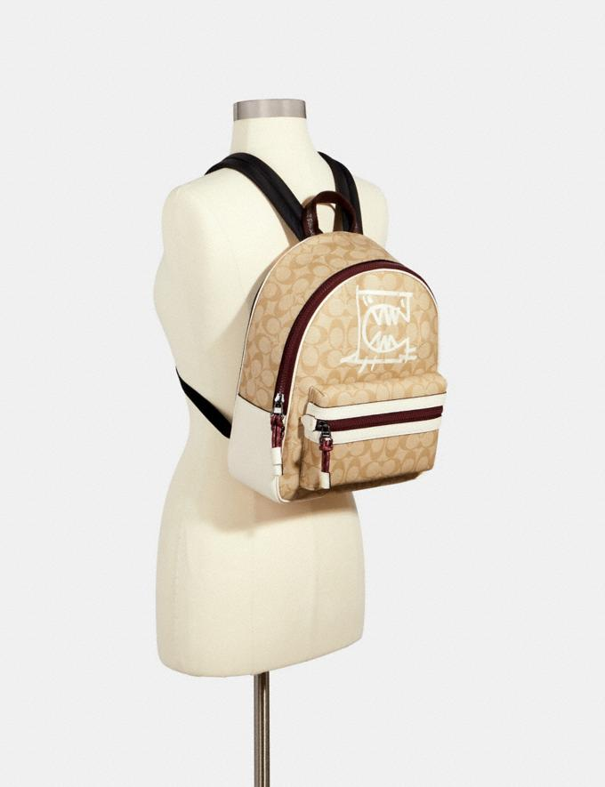 Coach Vale Medium Charlie Backpack in Signature Canvas With Rexy by Guang Yu Qb/Light Khaki/Chalk Multi Bags Bags Backpacks Alternate View 2