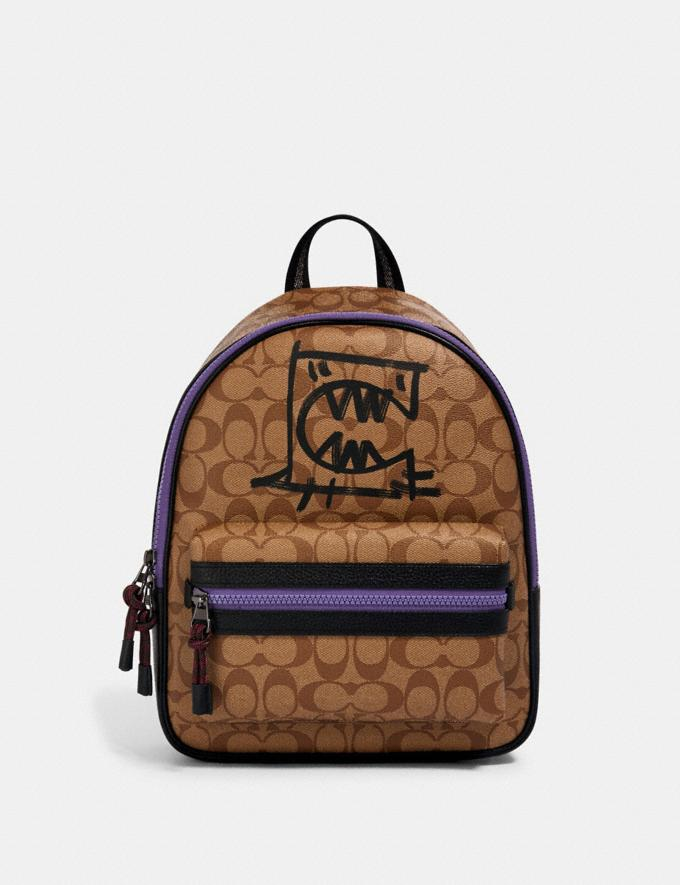 Coach Vale Medium Charlie Backpack in Signature Canvas With Rexy by Guang Yu Qb/Khaki Black Multi Bags Bags Backpacks