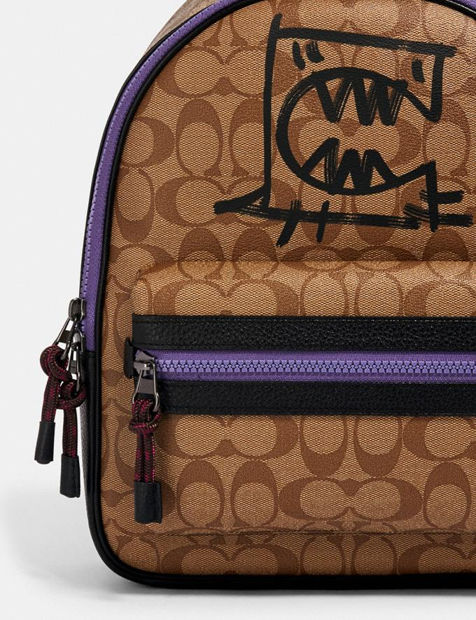 Coach Vale Medium Charlie Backpack in Signature Canvas With Rexy by Guang Yu Qb/Khaki Black Multi Bags Bags Backpacks Alternate View 3