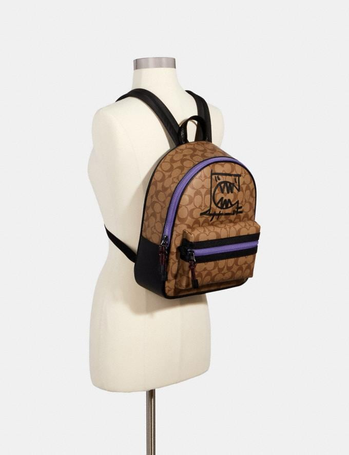 Coach Vale Medium Charlie Backpack in Signature Canvas With Rexy by Guang Yu Qb/Khaki Black Multi Bags Bags Backpacks Alternate View 2