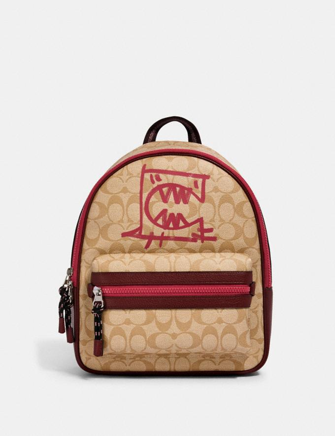 Coach Vale Medium Charlie Backpack in Signature Canvas With Rexy by Guang Yu Sv/Lt Khaki/Elctrc Pink Multi Bags Bags Backpacks