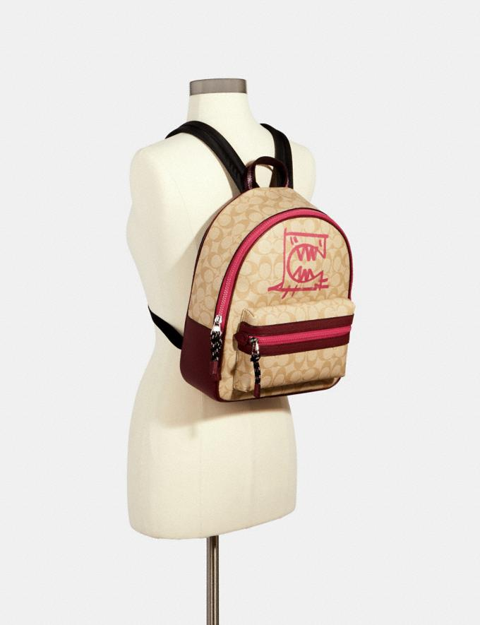 Coach Vale Medium Charlie Backpack in Signature Canvas With Rexy by Guang Yu Sv/Lt Khaki/Elctrc Pink Multi Bags Bags Backpacks Alternate View 2