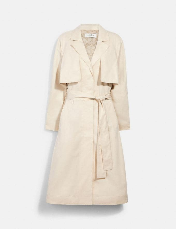 Coach Light Drapey Trench With Signature Lining Porcelain