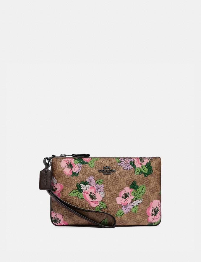 Coach Small Wristlet in Signature Canvas With Blossom Print Pewter/Tan Print Gifts For Her Under $100