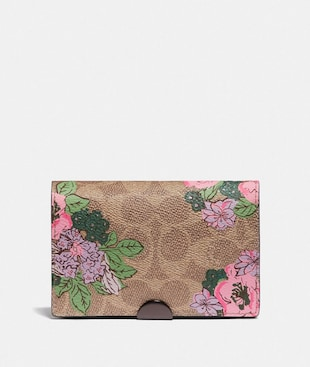 DREAMER CARD CASE IN SIGNATURE CANVAS WITH BLOSSOM PRINT