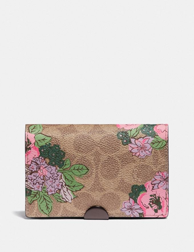 Coach Dreamer Card Case in Signature Canvas With Blossom Print Pewter/Tan Print Women Wallets & Wristlets Card Cases