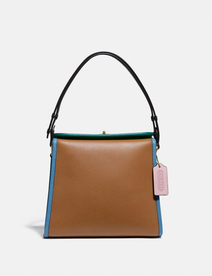 Coach Turnlock Shoulder Bag in Colorblock B4/Lt Saddle Pne Grn Women Bags Shoulder Bags