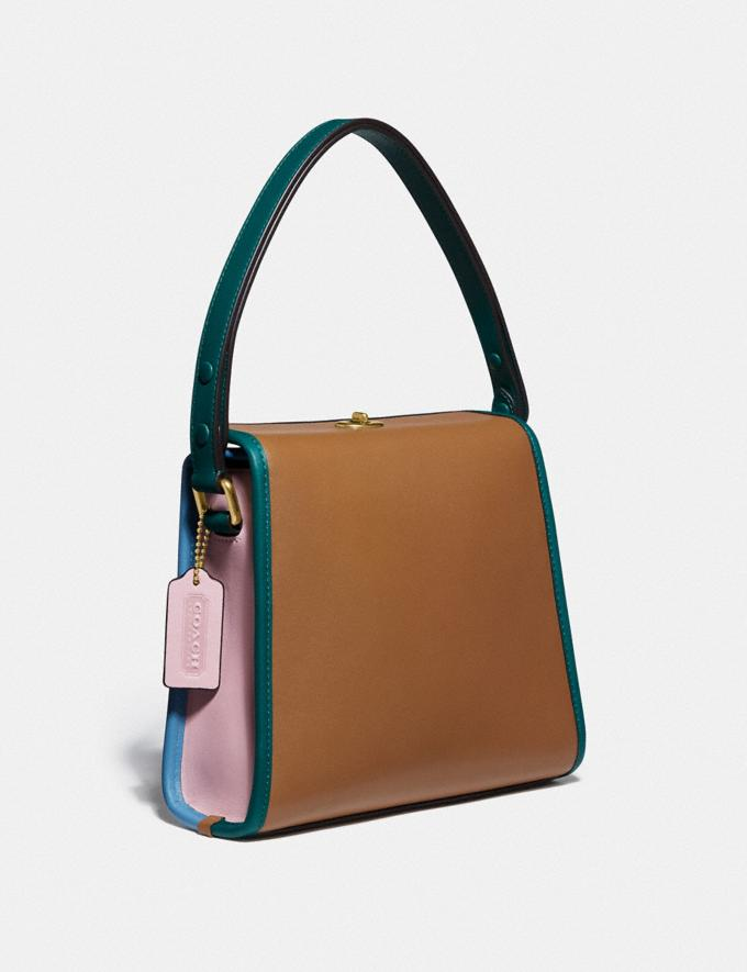Coach Turnlock Shoulder Bag in Colorblock B4/Lt Saddle Pne Grn Women Bags Shoulder Bags Alternate View 1