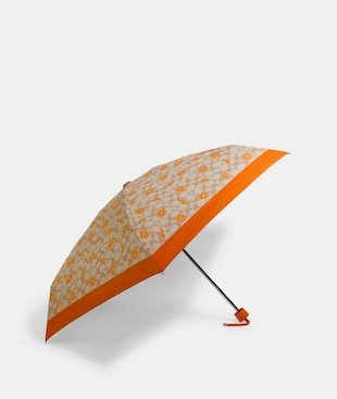 MINI UMBRELLA IN ORANGE SIGNATURE PRINT