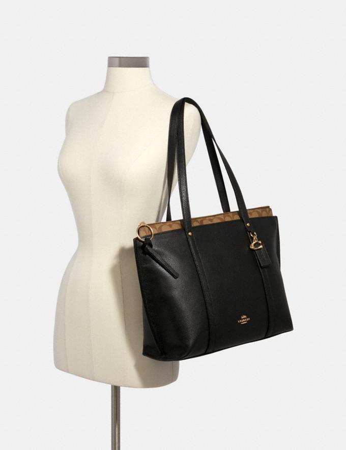 Coach May Tote With Signature Canvas Detail Im/Black Khaki Handbags Handbags Alternate View 2