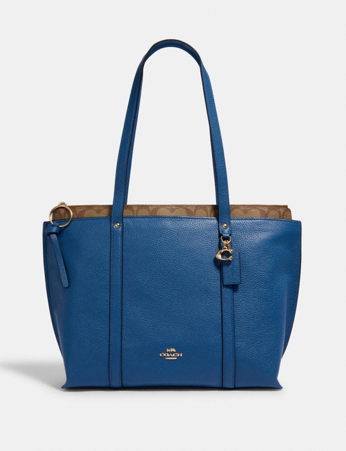 Coach May Tote With Signature Canvas Detail Im/Deep Atlantic Khaki