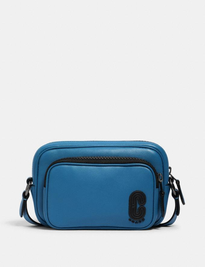 Coach Mini Edge Double Pouch Crossbody With Coach Patch Qb/Bluejay Men