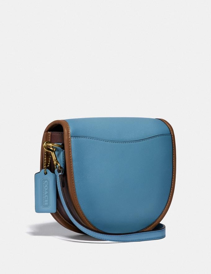 Coach Turnlock Saddle Crossbody in Colorblock Brass/Pacific Blue Multi Women Handbags Crossbody Bags Alternate View 1