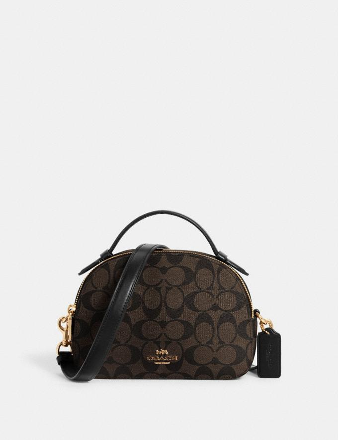 Coach Serena Satchel in Signature Canvas Im/Brown Black