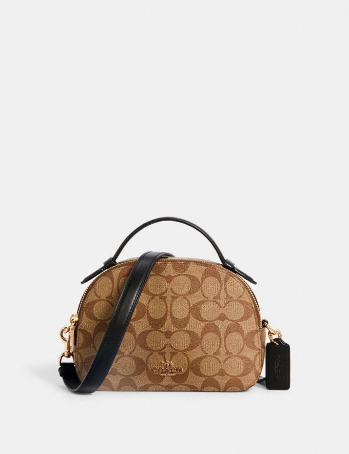 Coach Serena Satchel in Signature Canvas Im/Khaki/Black Bags Bags
