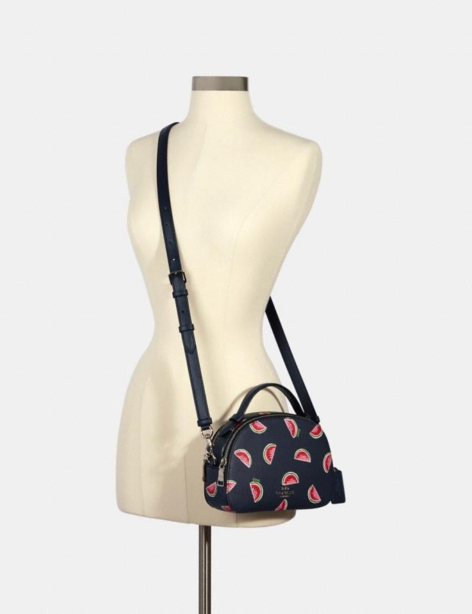 Coach Serena Satchel With Watermelon Print Sv/Navy Red Multi  Alternate View 3