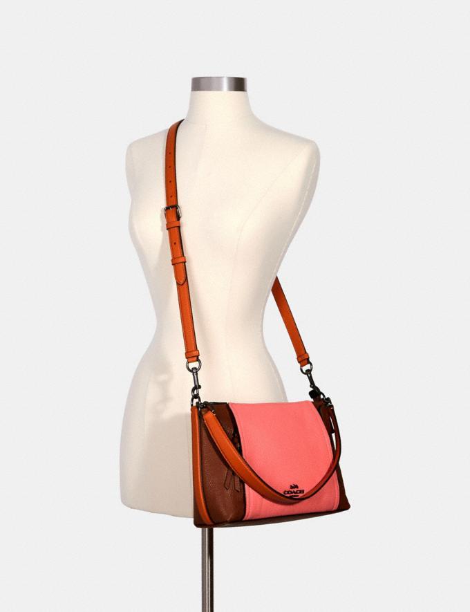 Coach Small Marlon Shoulder Bag in Colorblock Qb/Redwood/Pink Lemonade Multi  Alternate View 3