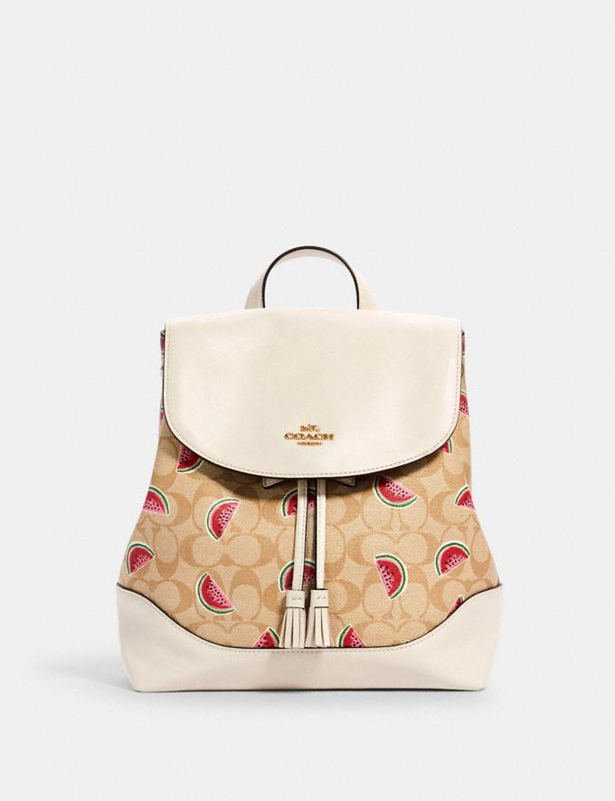 Coach Elle Backpack in Signature Canvas With Watermelon Print Im/Lt Khaki/Red Multi