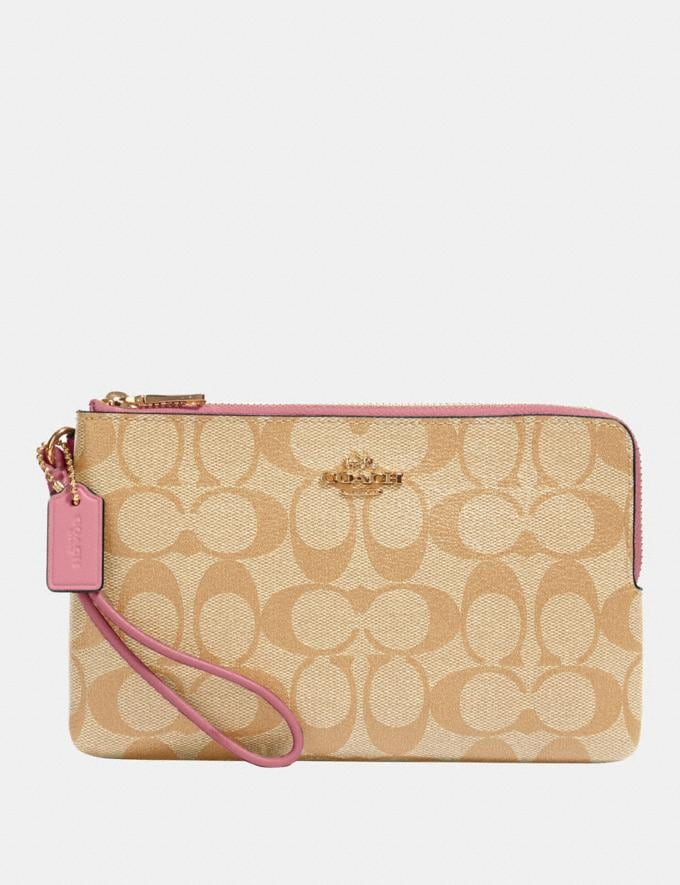 Coach Double Zip Wallet in Signature Canvas Im/Light Khaki Rose Accessories Wallets