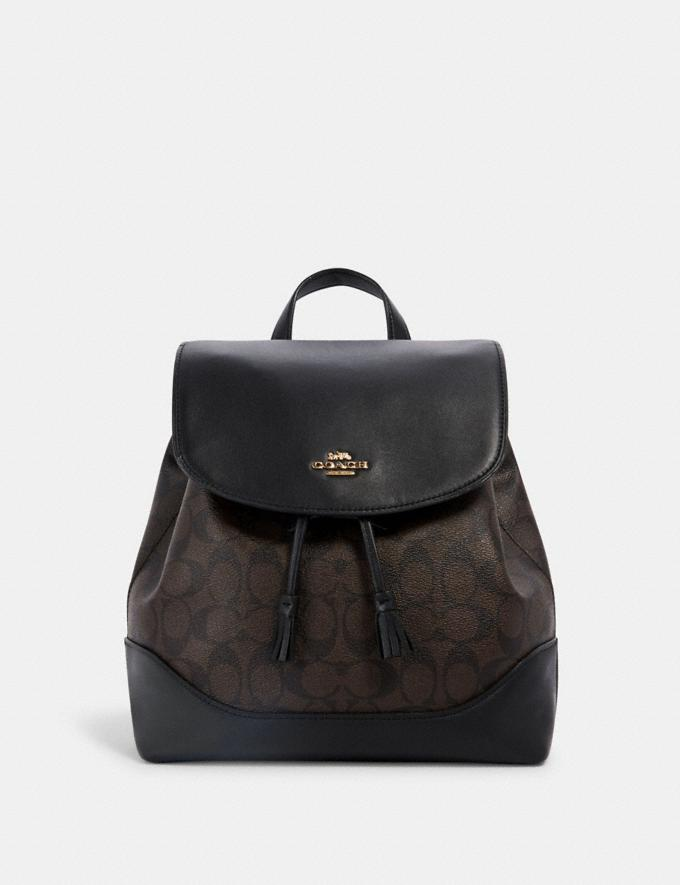Coach Elle Backpack in Signature Canvas Im/Brown Black