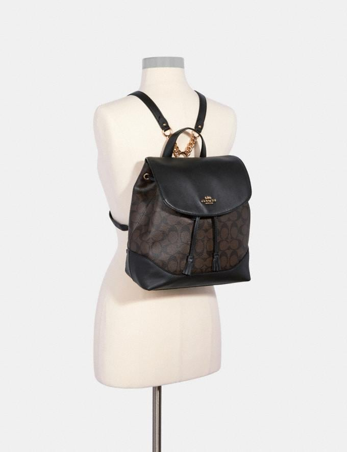 Coach Elle Backpack in Signature Canvas Im/Brown Black  Alternate View 2