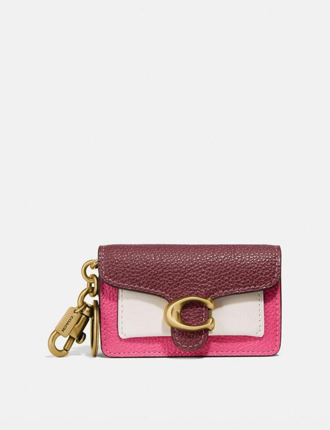 Coach Mini Tabby Bag Charm in Colorblock Brass/Wine Chalk Confetti Pink Women Accessories Bag Accessories & Keyholders