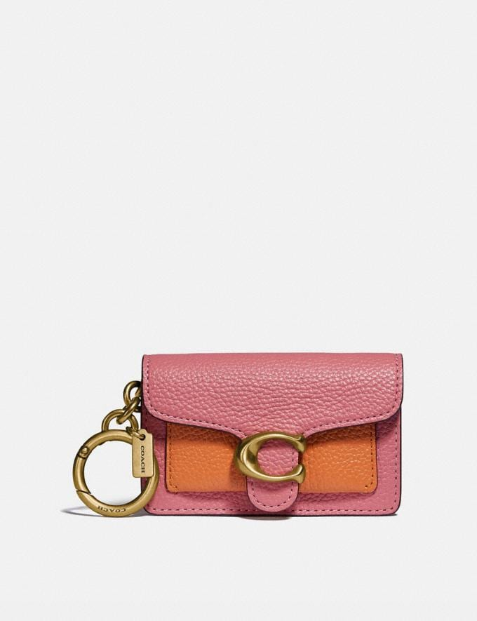 Coach Mini Tabby Bag Charm in Colorblock Brass/Taffy/Candied Orange