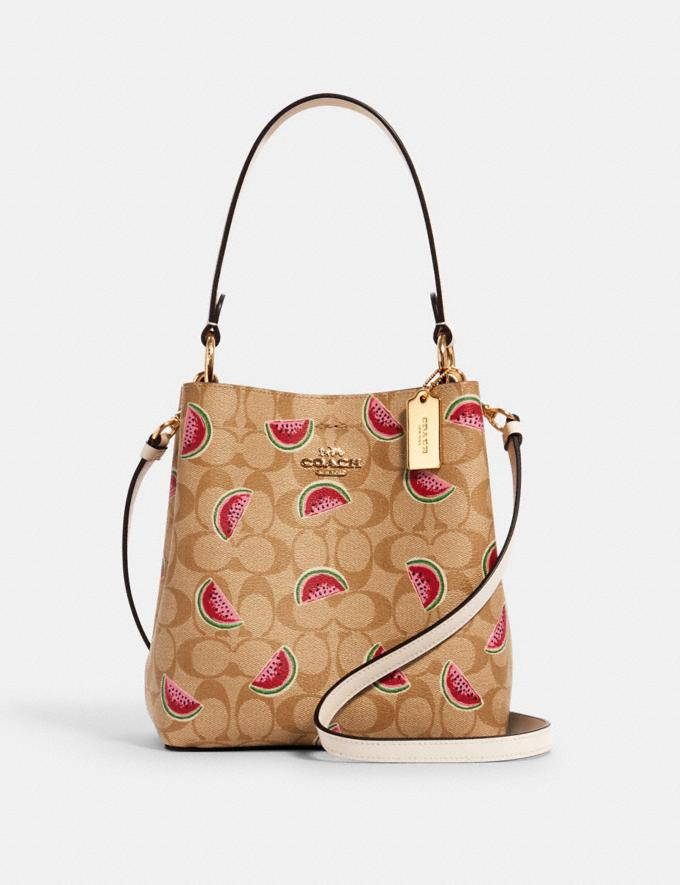 Coach Small Town Bucket Bag in Signature Canvas With Watermelon Print Im/Lt Khaki/Red Multi