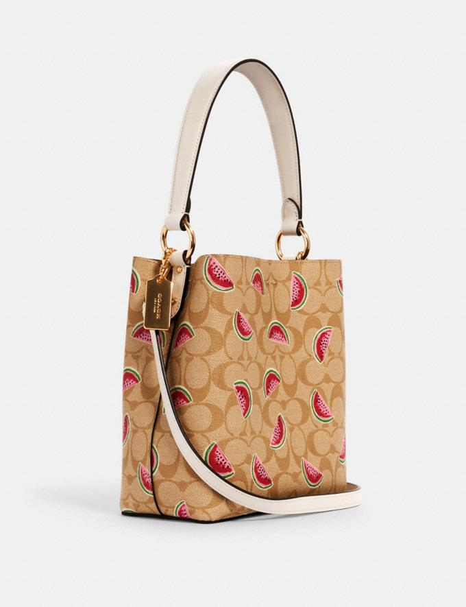 Coach Small Town Bucket Bag in Signature Canvas With Watermelon Print Im/Lt Khaki/Red Multi  Alternate View 1