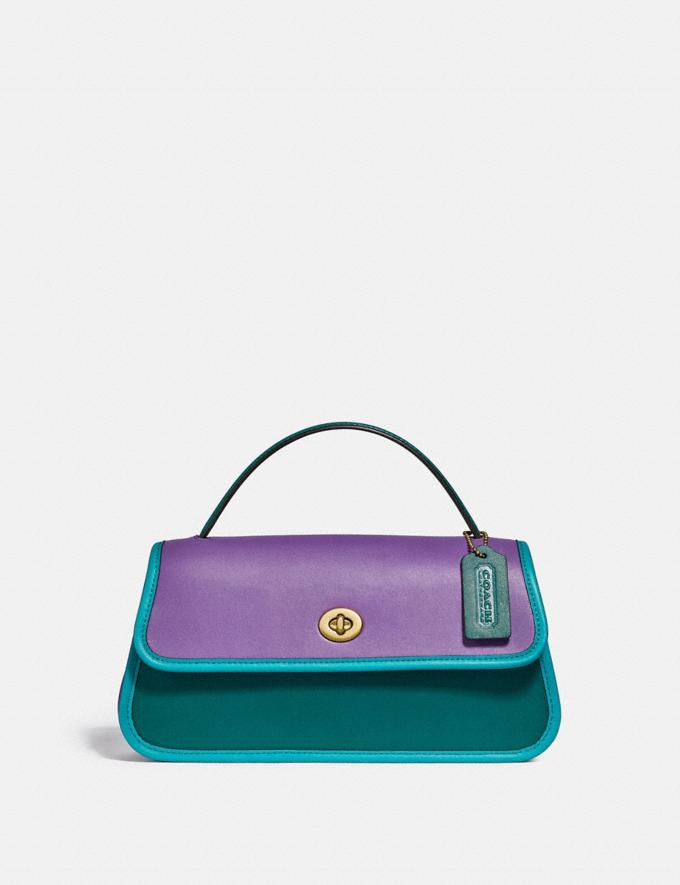 Coach Turnlock Clutch in Colorblock Brass/Bright Violet Multi New Women's New Arrivals Collection