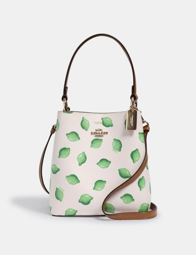 Coach Small Town Bucket Bag With Lime Print Im/Chalk Green Multi