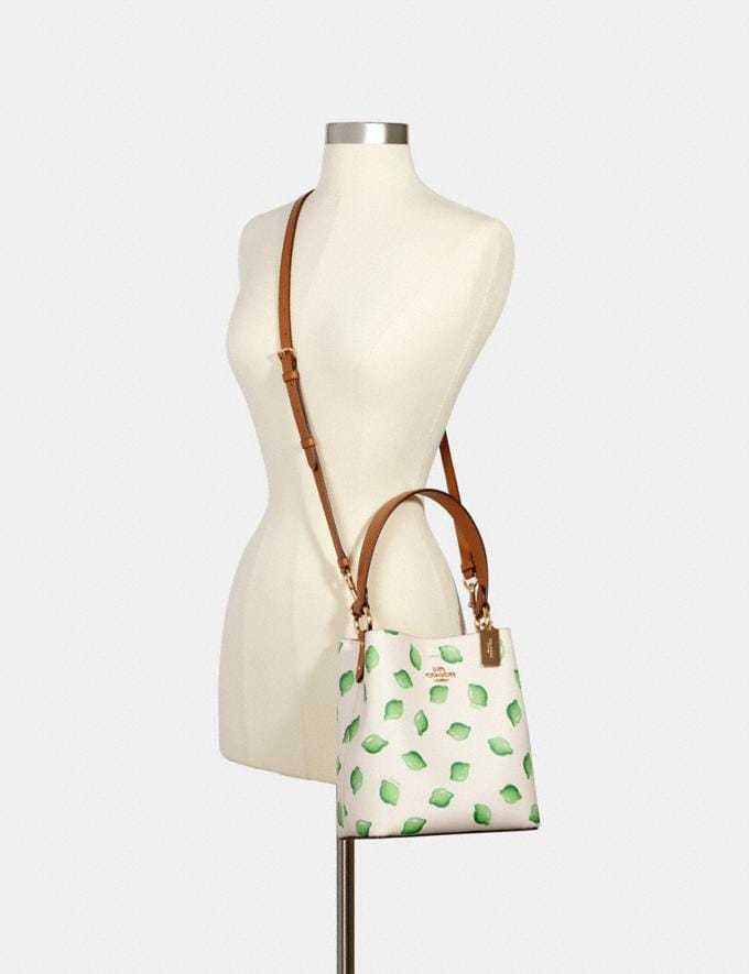 Coach Small Town Bucket Bag With Lime Print Im/Chalk Green Multi  Alternate View 3