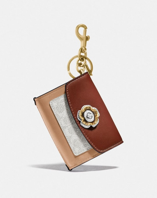 MINI PARKER BAG CHARM IN COLORBLOCK SIGNATURE CANVAS WITH SNAKESKIN DETAIL