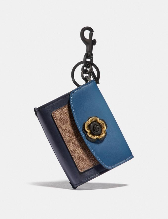 Coach Mini Parker Bag Charm in Colorblock Signature Canvas With Snakeskin Detail Brass/Lake/Tan/Slate/Midnight Women Accessories