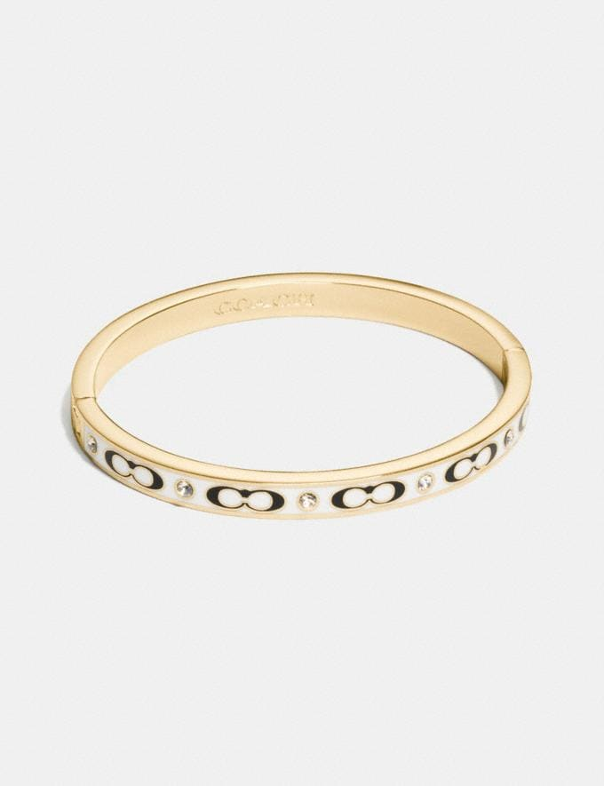 Coach Signature Stone Hinged Bangle Gold/Chalk Women Accessories Jewellery Bracelets